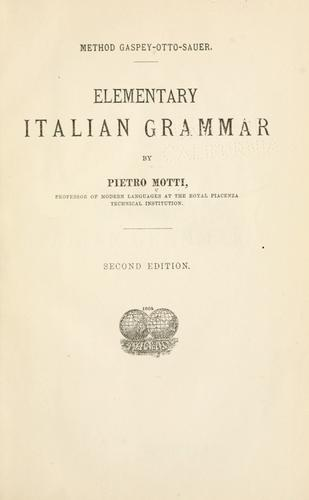Download Elementary Italian grammar