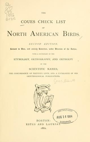 The Coues check list of North American birds.