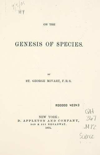 On the genesis of species.