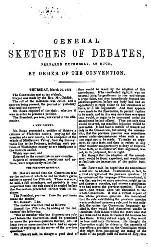Debates and proceedings of the Maryland reform convention to revise the state constitution …