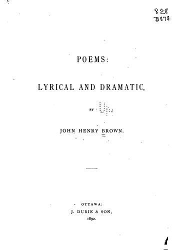 Poems: lyrical and dramatic