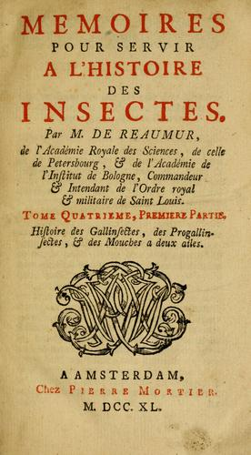 Download Mémoires pour servir à l'histoire des insectes.