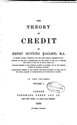 Download The theory of credit