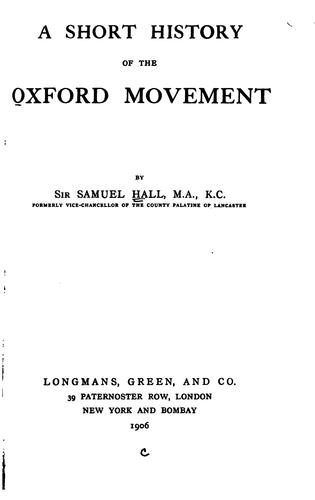 Download A short history of the Oxford movement