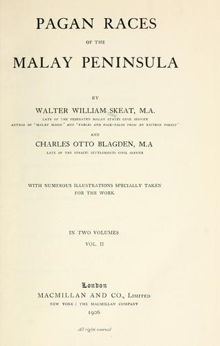 Download Pagan races of the Malay Peninsula