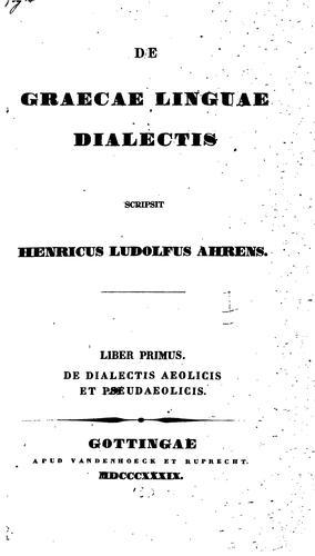 De graecae linguae dialectis