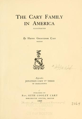The Cary family in America by H. G. Cary