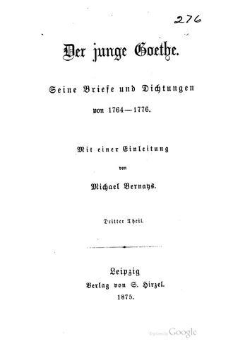 Der junge Goethe.
