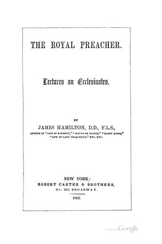 The royal preacher.