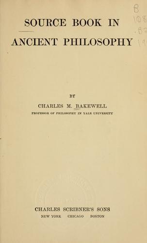 Download Source book in ancient philosophy.