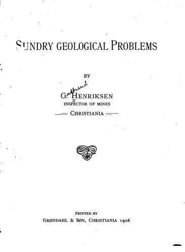 Sundry geological problems