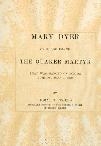 Download Mary Dyer of Rhode Island