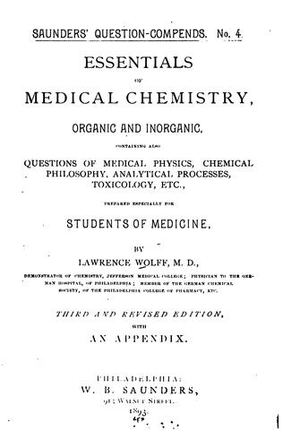 Download Essentials of medical chemistry, organic and inorganic …