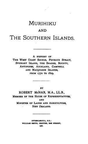Murihiku and the Southern islands.