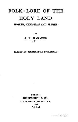 Folk-lore of the Holy Land.