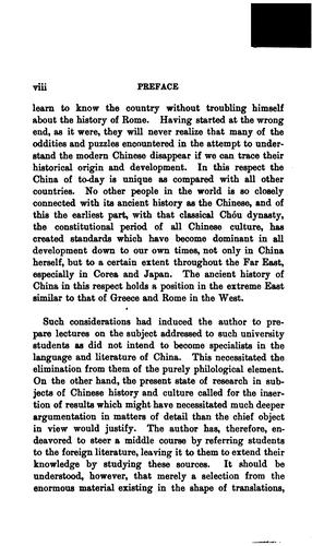 The ancient history of China to the end of the Chóu dynasty