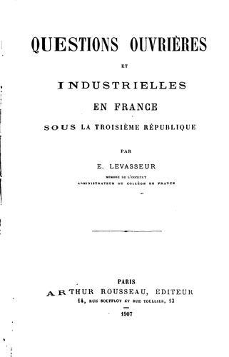 Download Questions ouvrières et industrielles en France sous la troisième république