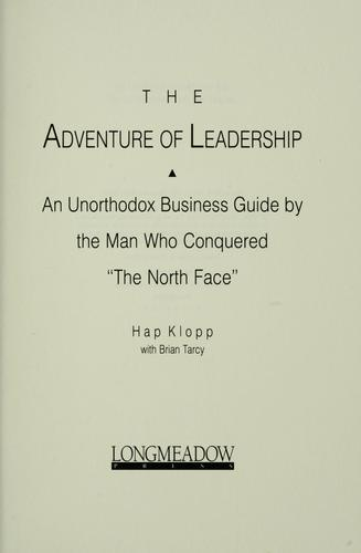 Download The adventure of leadership