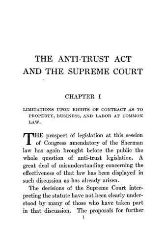 The Anti-trust act and the Supreme Court.