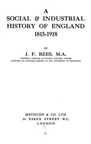 A social & industrial history of England, 1815-1918