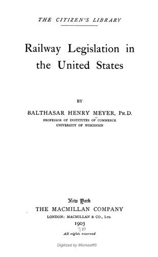 Railway legislation in the United States