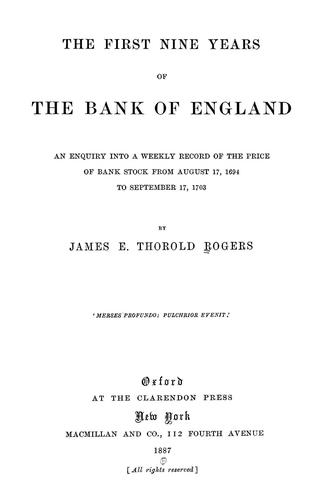 Download The first nine years of the Bank of England.