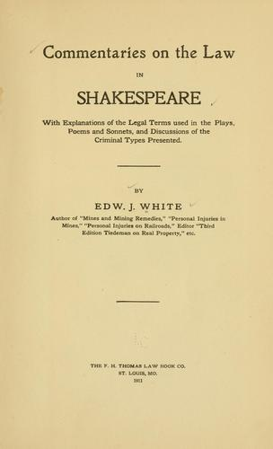 Download Commentaries on the law in Shakespeare