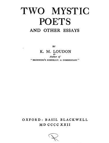Download Two mystic poets and other essays