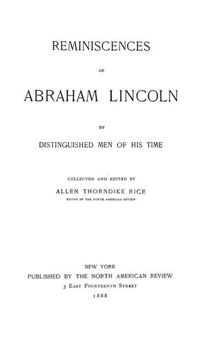 Download Reminiscences of Abraham Lincoln, by distinguished men of his time .