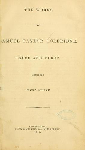 Download The works of Samuel Taylor Coleridge.