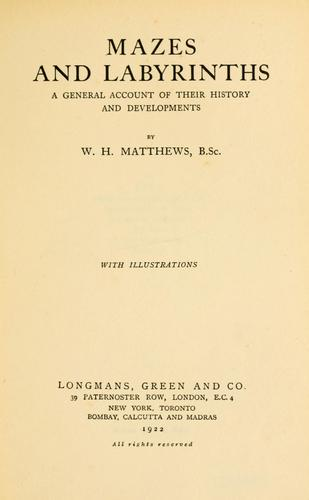 Mazes and labyrinths by Matthews, William Henry