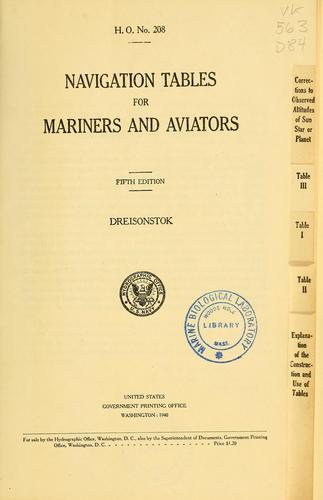 Navigation tables for mariners and aviators.