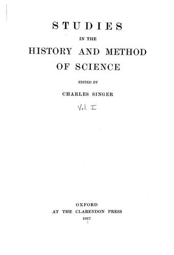 Studies in the history and method of science