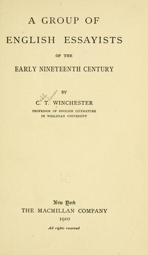 Download A group of English essayists of the early nineteenth century