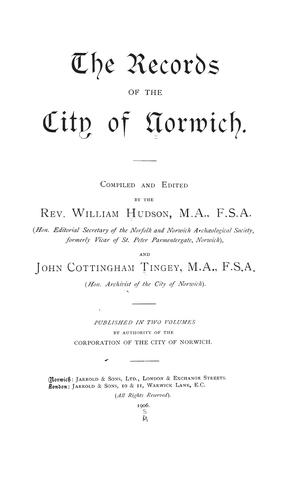 Download The records of the city of Norwich.