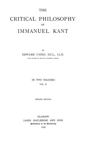 Download The critical philosophy of Immanuel Kant