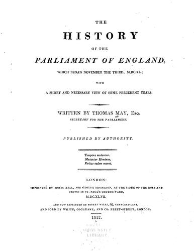 Download The history of the Parliament of England