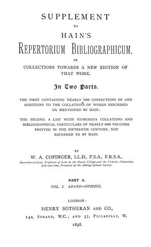 Download Supplement to Hain's Repertorium bibliographicum