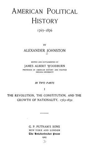 American political history, 1763-1876.