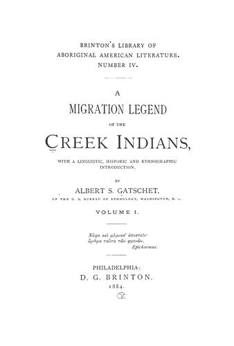Download A migration legend of the Creek Indians