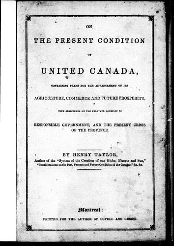 Download On the present condition of United Canada