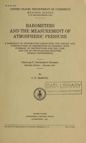 Download Barometers and the measurement of atmospheric pressure.