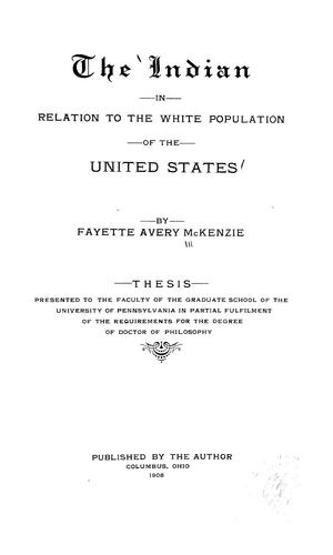 The Indian in relation to the white population of the United States