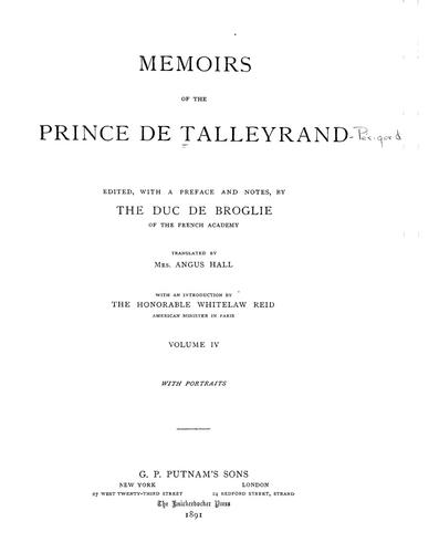 Memoirs of the Prince de Talleyrand.