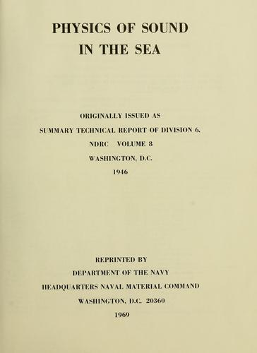 Physics of sound in the sea.