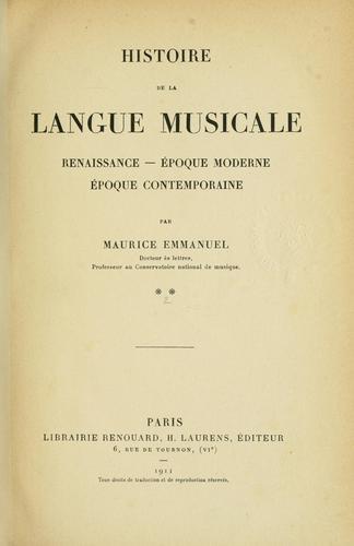 Download Histoire de la langue musicale