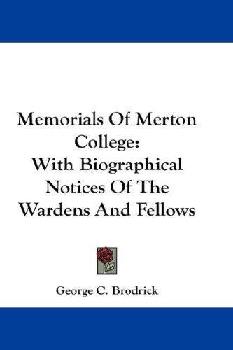 Download Memorials Of Merton College
