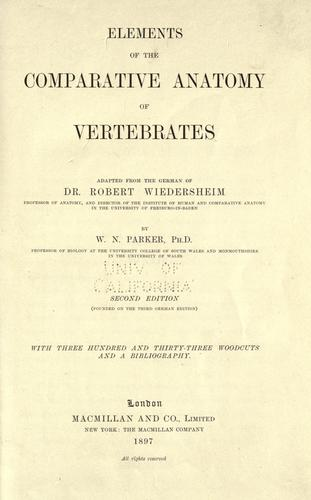 Download Elements of the comparative anatomy of vertebrates.