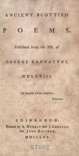 Download Ancient Scottish poems.
