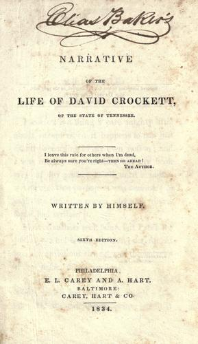 A narrative of the life of David Crockett, of the state of Tennessee …